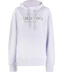 helmut lang cotton logo print hoodie - purple