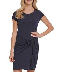tie-front cotton-blend dress