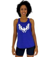regata feminina alto conceito águia fênix azul royal