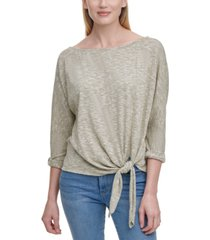 dkny boat-neck tie-front top