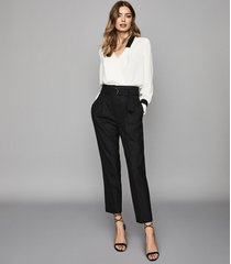 reiss blythe - belted straight leg trousers in black, womens, size 10