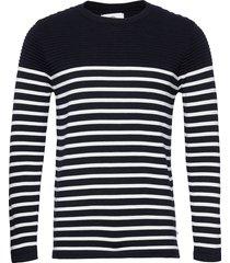 link cotton stripe knit stickad tröja m. rund krage svart kronstadt