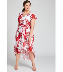 lane bryant women's floral high-low midi dress 26 red & white floral
