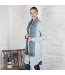 irish woven skellig scarf blue