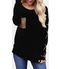 black lace-up design plain round neck long sleeves t-shirt