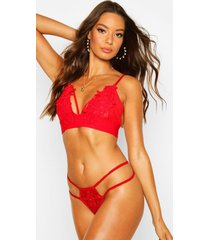applique strapping bralette, red