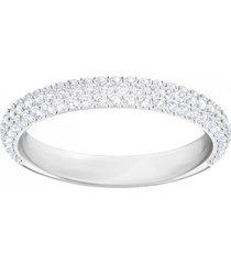 anillo stone, blanco, baño de rodio