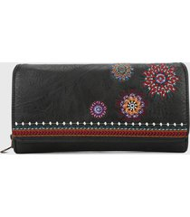 billetera negro-multicolor desigual