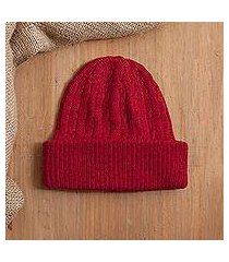 100% alpaca knit hat, 'comfy in red' (peru)