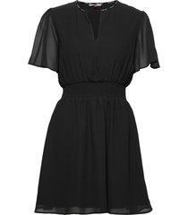 tjw shortsleeve smock dress korte jurk zwart tommy jeans