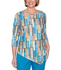 alfred dunner petite colorado springs geometric-print top