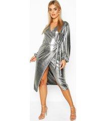 plus metallic wrap detail midi dress, silver