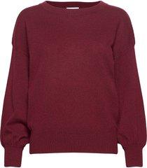 balloon sleeve sweater stickad tröja röd davida cashmere