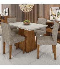mesa de jantar 4 lugares bárbara 1229 100% mdf ypê/off white/wd22 - new ceval