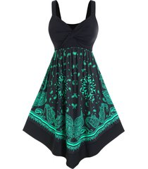 plus size paisley print twist high rise casual dress