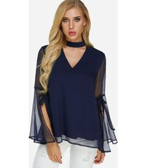 navy tiered see through design cut out perkins collar slit long sleeves blouse