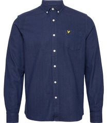 brushed herringb shirt overhemd casual blauw lyle & scott