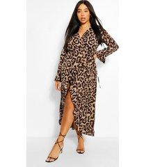 plus midi-jurk met ruches en luipaardprint, bruin