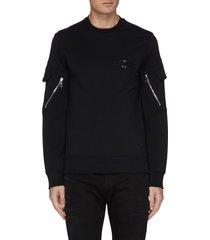 mix pocket piercing sweatshirt