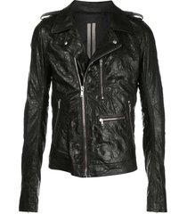 rick owens embossed leather biker jacket - black