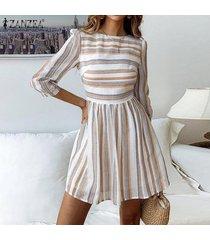 zanzea de vacaciones para mujer o partido del cuello del mini vestido del club del coctel de la cremallera de los vestidos de rayas -naranja