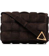 bottega veneta padded cassette suede shoulder bag - brown