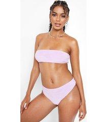 hoog uitgesneden badstoffen bikini broekje met hoge taille, lilac