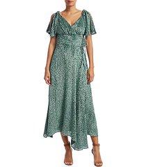 lilah flutter-sleeve chiffon dress