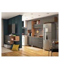 cozinha compacta carmenére 7 pt 2 gv com armário suspenso multiúso 2 pt castanho e chumbo