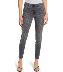 women's blanknyc the bond leopard print ankle skinny jeans, size 29 - grey