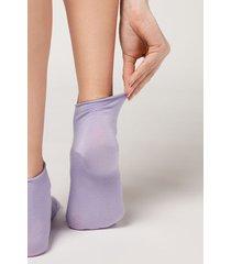 calzedonia cuffless short socks in cotton woman violet size tu