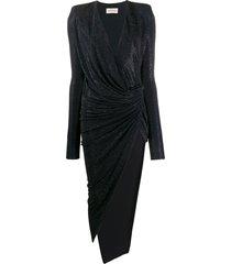 alexandre vauthier studded asymmetric-hem dress - blue
