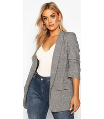plus dogtooth prince of wales flannel blazer, grey