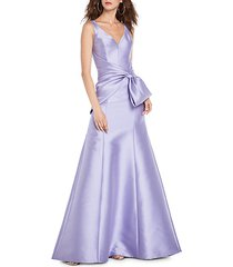 bow-front satin gown