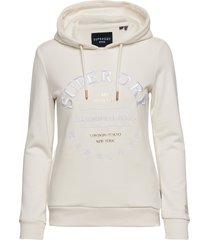 applique serif hood ub hoodie trui crème superdry