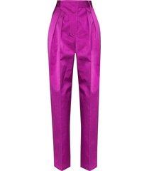 ambush high-waisted straight-leg trousers - purple