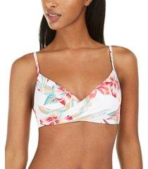 roxy juniors' lahaina bay printed wrap bralette bikini top women's swimsuit