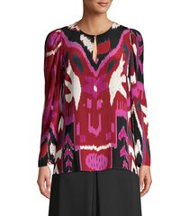 kobi halperin women's catt abstract print silk blouse - beet multi - size xs