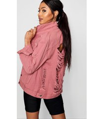 distressed oversize jean jacket, dusky pink