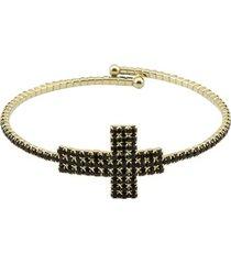 bracelete tudo joias cruz folheada a ouro com zircônias