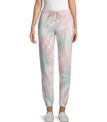 olive & oak women's tie-dyed jogging pants - mauve match - size xs