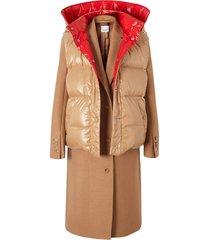 burberry paneled coat - brown