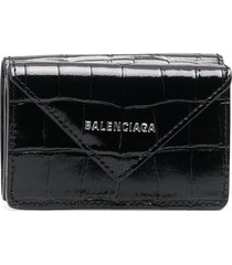 balenciaga croc-effect leather wallet - black