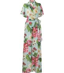 dolce & gabbana floral print wrap jumpsuit - blue