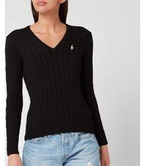 polo ralph lauren women's kimberly classic long sleeve sweatshirt - black/white pp - m