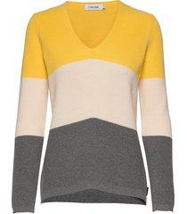 ls color block sweater gebreide trui geel calvin klein