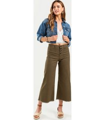 women's cara button front wide leg pants in olive by francesca's - size: m