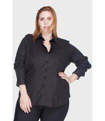 camisa acinturada algodão com elastano plus size feminina