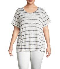 b collection by bobeau women's plus ellery striped t-shirt - oatmeal black - size 1x (14-16)