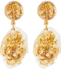 gold flake nugget clear drop earrings